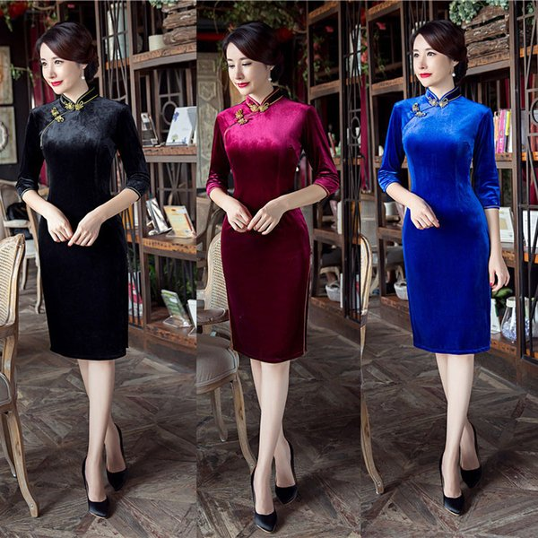 2019 New high quality simple plus size 3/4 long sleeve velvet black/blue/wine red short cheongsam solid color Chinese dress daily qipao