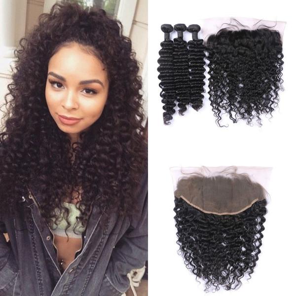 Brazilian Human Hair Bundles With Frontal Lace Closure 13x6 Natural Black Brazilian Deep Wave Hair Weaves Closure LaurieJ Hair