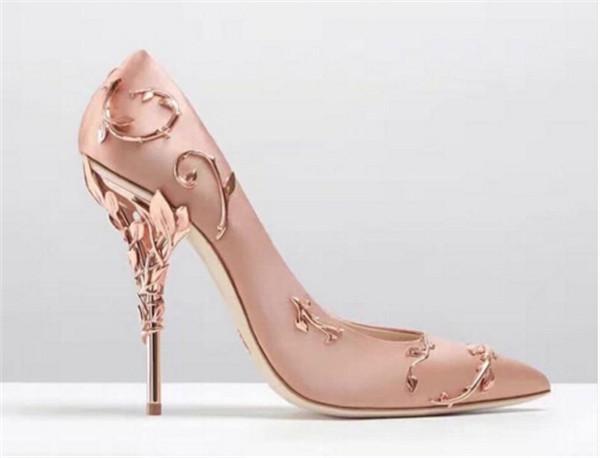 Nueva hoja de filigrana adornada dedo del pie acentuado colección de alta costura ZAPATOS bomba de boda talón eden Súper mujeres sexy zapatos de tacón alto Chaussure Femme