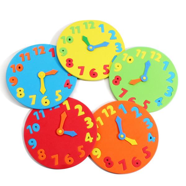 Großhandels- 2Pcs / Lot EVA-Schaum Zahl Uhr Puzzle Spielzeug montiert DIY kreative Lernspielzeug für Kinder Baby 1-7 Jahre 2017