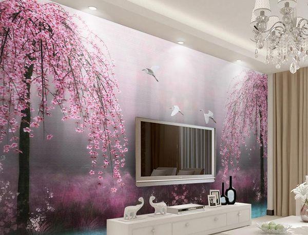 Custom 3d Wallpaper Murals Pink Swan Lake Scenery 3d Stereoscopic Wallpaper  Living Room Modern Wallpaper High Definition Widescreen Wallpapers High ...