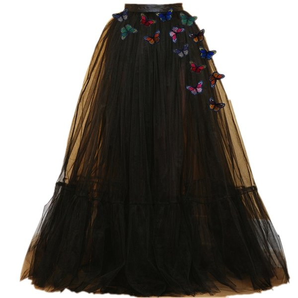 2017 New Design Butterfly Lady Prom Party Tulle Tutu Princess Black women long skirt