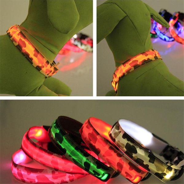 Camouflage LED Hunde Kragen Blinklicht Flash Kragen Nylon milltary LED Haustier Halsbänder S M L XL Einstellbare Glowing Hund Hals Zubehör