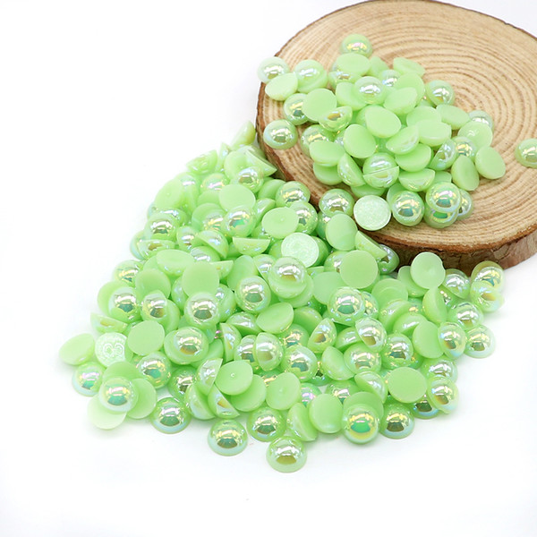 All Size Flatback Half Pearl Beads Peridot AB Color ABS Flat Back Pearls Glue On Scrapbooking Art Craft