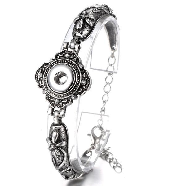 20Pcs Noosa bouton bracelets bracelets Antique argent gravé cristal fleurs fermoirs magnétiques bricolage ginglures snaps bijoux interchangeables