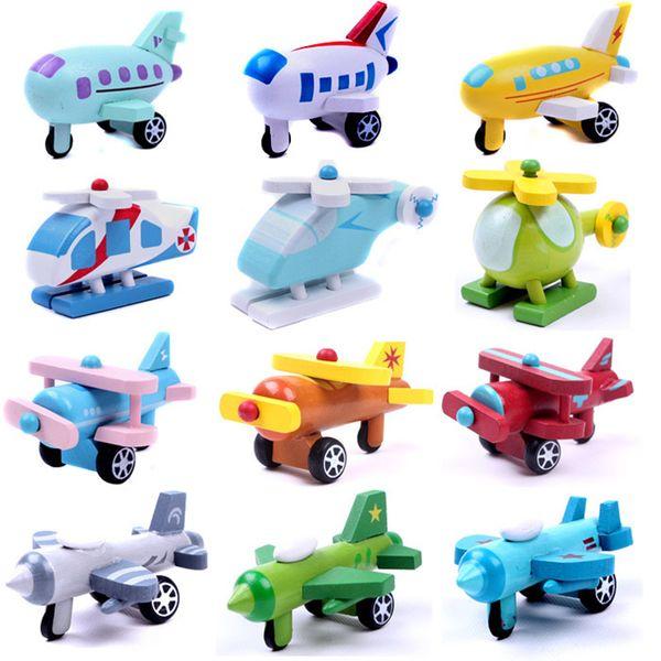 12 PCS / Set Export Enfants Diecasts En Bois Avion Jouets 5CM Bande Dessinée Minicar Modèle Véhicule En Bois Mini avion Bébé Jouets Enfants Cadeau