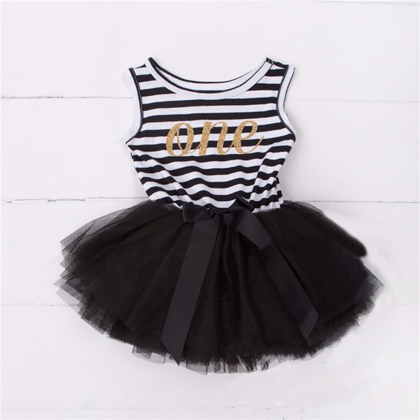 Wholesale- one years old tutu dress for infant baby summer sleeveless striped ribbon bow newborn vestido clothes toddler christening party