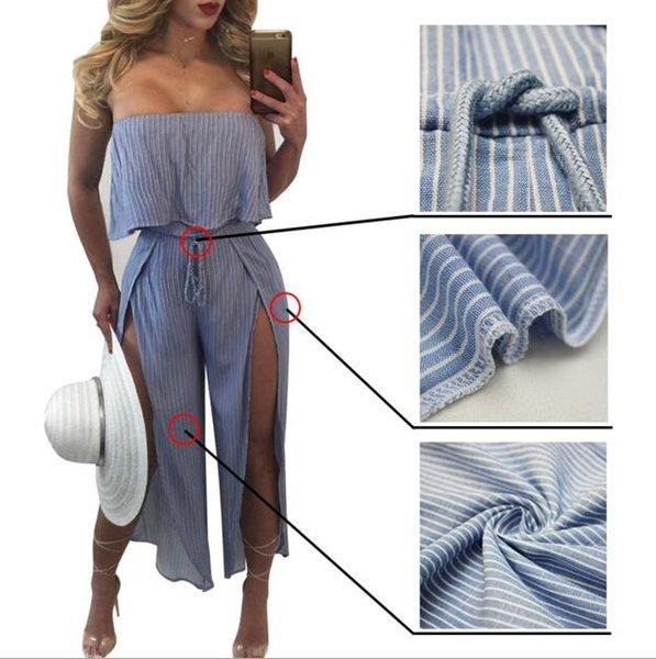 Европейский и американский стиль женщины Сексуальная обнаженная задняя часть комбинезоны синий полоса вилки девять суп один кусок сексуальные брюки Листья лотоса