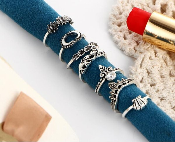 European-America retro style rings 7PCS set sunflower shell elephant crown moon hand joint rings all-matched silver band ring