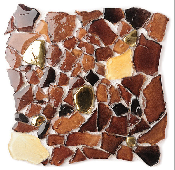 2017 2017 new!! irregular glass mosaic tiles, gradient brown