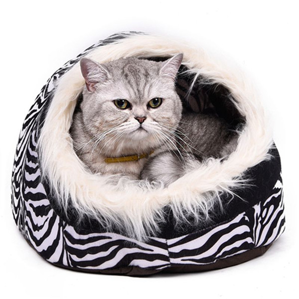 top popular Super Warm Cat Cave Bed Dog House Puppy Kennel Shelter for Kitty Rabbit and Nest for Kitten Small Animals Edge With Soft Hair 2020