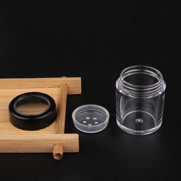 Nueva llegada Herramientas de maquillaje 50 unids x 10 g Frasco de Polvo Plástico Vacío Con Tapa Negra Contenedor PS Visible Embalaje Envío Gratis