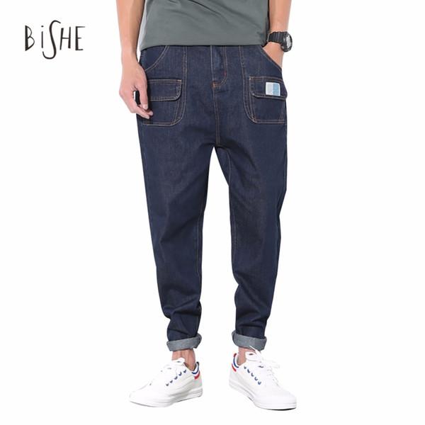 Atacado - Jeans Men Moda Vintage Slim Harem Straight Hetero Jogger Crotch Bolsos Denim Pencil Pants Jeans calças compridas calças