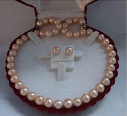 ELEGANT AAA10-11mm south sea lavender pearl necklace &earring 925s