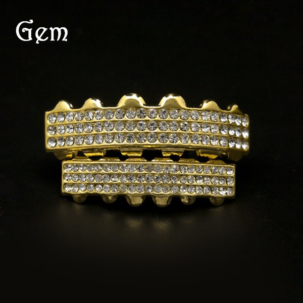 Full Diamond Grillz For Men Top Quality Pop Hip Hop Grillzs Gold Plated Luxury Party Gifts Free Shipping