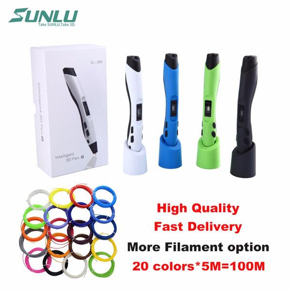 top popular SUNLU SL-300 Children Doodle Toy 3D Pen Printer with 5mm 20colors PLA Filament LCD ControlIntelligent Temperature Sensing 3D Pen 2021