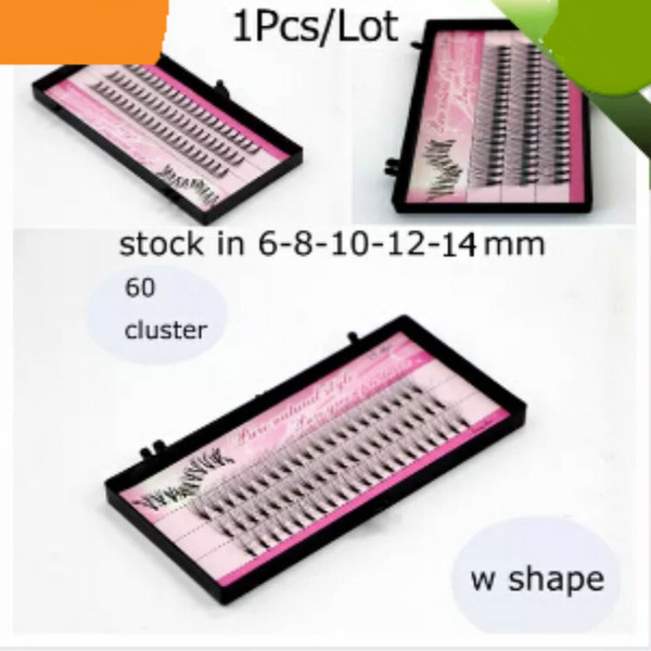 Free shipping 1Pcs/Lot high quality w shape super soft synhetic mink individual eyelashes extension 60 cluster/box