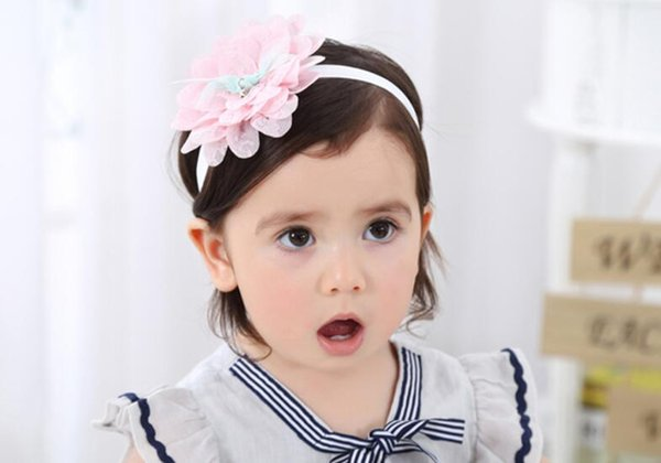 Hot Sale Hair Accessories For Infant Baby Lace Big Flower Pearl Princess Babies Girl Hair Band Headband Baby's Head Band Kids Hair wear