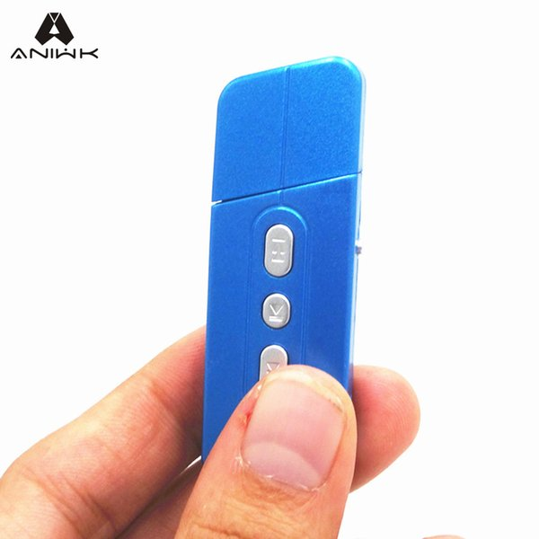 Wholesale- Aniwk Portable MP3 Player USB charging TF Card Mini With Earphone Headset package micro sd Card MP3 Player Green/Blue/Black