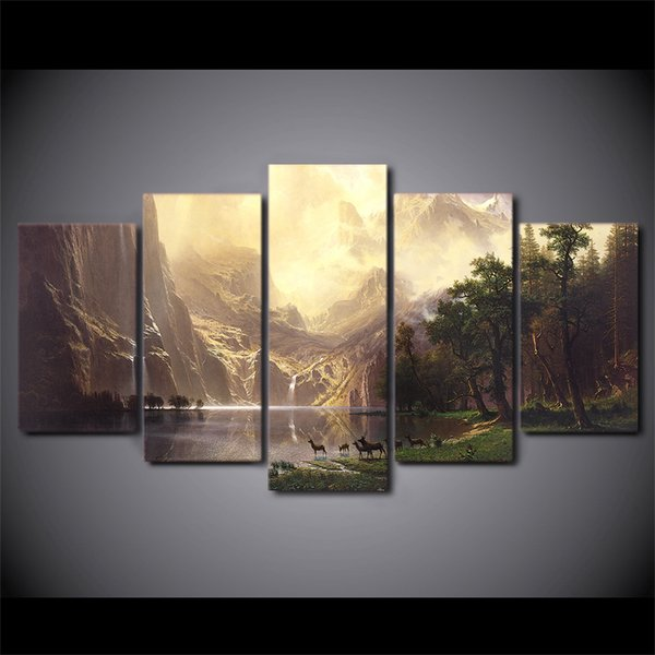 5 Pcs/Set Framed HD Printed Mountain Lake Deers Picture Custom Canvas Prints Animal Oil Painting Artworks Poster