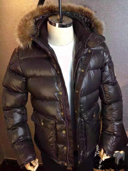 Rakun Gerçek Kürk Trim Hood Yorgan Down Coat Açık Mens Parkas ile Erkekler için Mm20 Fransız Marka Aşağı Ceket