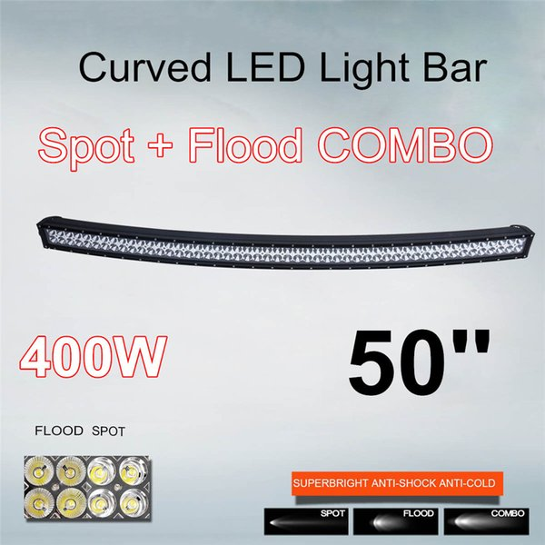 52 inch 400W Curved LED Work Light Bar Spot Flood Combo beam for Truck SUV ATV UTE Tractor Boat 4WD Off-road Jeep 12V 24V