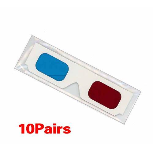 Atacado - 10 pares de óculos 3D de papelão vermelho / ciano