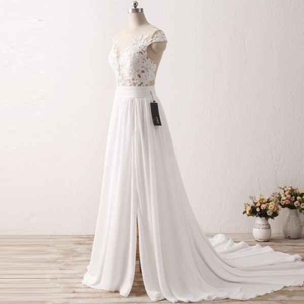 Thigh High Slits Wedding Dresses Cap Sleeves Appliques Lace Illusion Sheer Chiffon Bridal Gowns 2018 Sexy Dress For Brides Celebrities