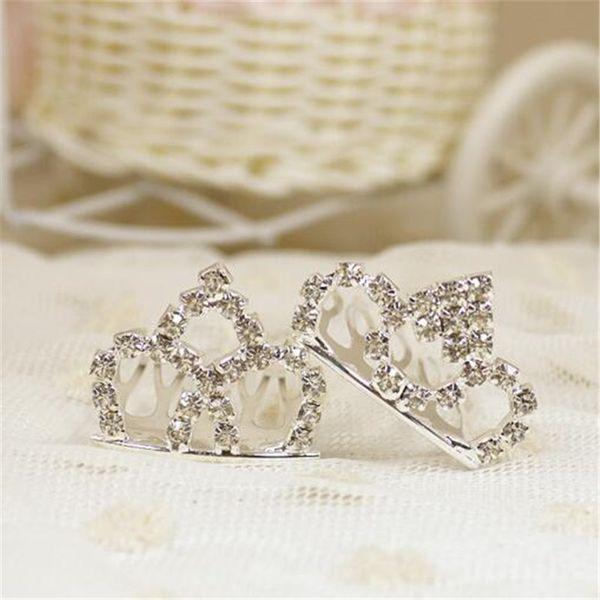 3 * 2cm moda piccoli diademi argento strass metallo pettini per capelli bambini accessori per capelli per le ragazze clip di capelli di cristallo da sposa diadema