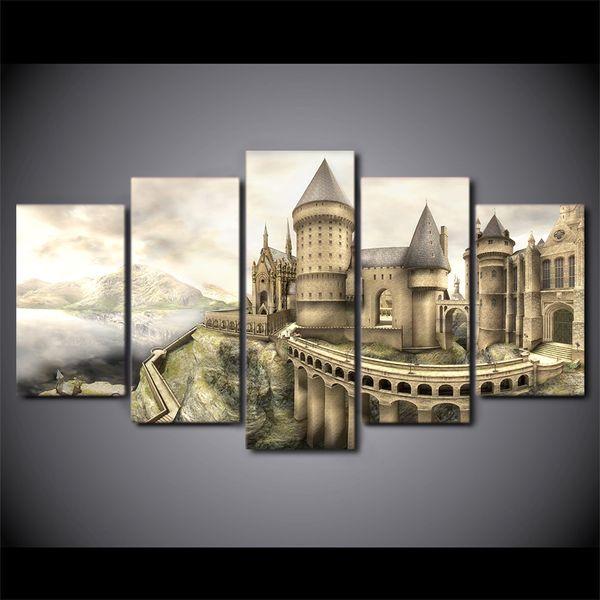 5 Panel HD Impreso Enmarcado Hermoso Castillo de la Vendimia Moderna Decoración Del Hogar Lienzo Arte Pintura Cuadros de Pared