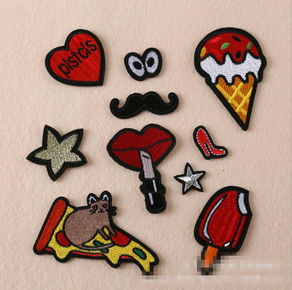 Mixed 10PCs/set Patch Applique For Jeans Clothes Iron On DIY Garment Hats Accessories Clothes Decoration Sew On Patches