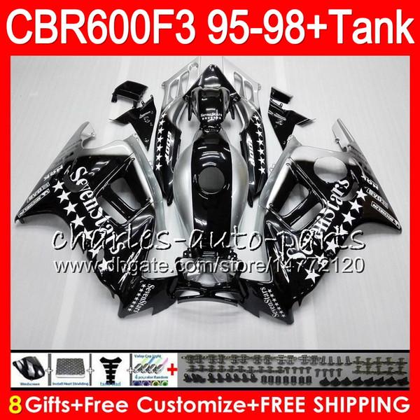 8 Gifts 23 Colors For HONDA CBR600F3 95 96 97 98 CBR600RR FS Seven star 2HM18 CBR600 F3 600F3 CBR 600 F3 1995 1996 1997 1998 black Fairing