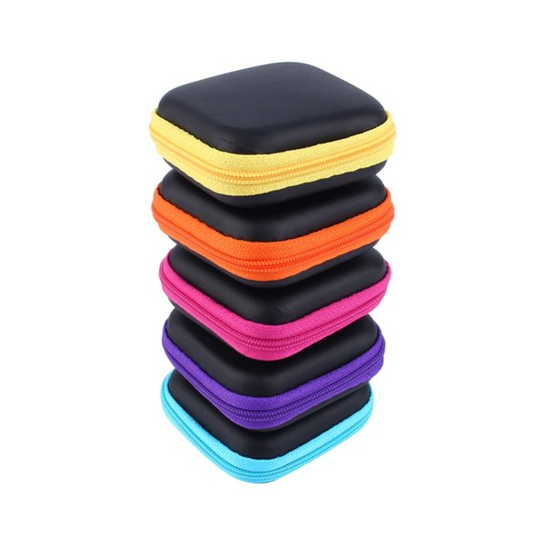 7x7x2.8cm Mini Zipper Hard Headphone Case PU Leather Earphone Bag Protective Usb Cable Organizer Portable Earbuds Storage Box