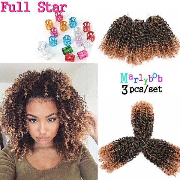 3 8 Inch Afro Kinky Curly Hair Crochet Braids Extensions Bohemian