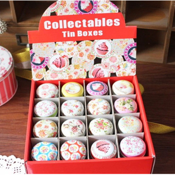48pcs/lot Food Storage Macaron Storage Box Organizer for Jewelry Mini Candy Color Many Colors Tin Box Best Gift Supplies for Family
