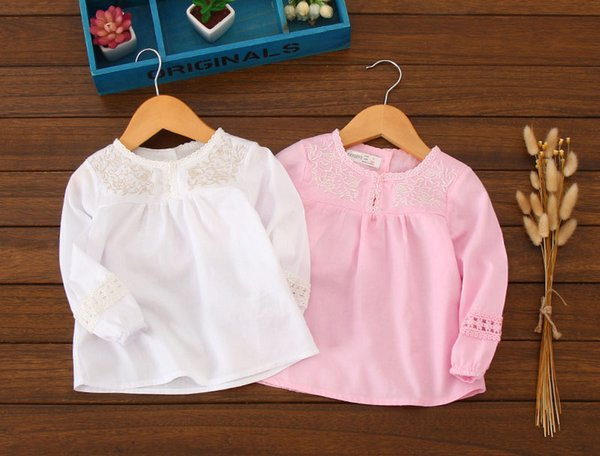 Baby Girls Shirts Long Sleeve Luxury Embroidered Floral Fashion Lace