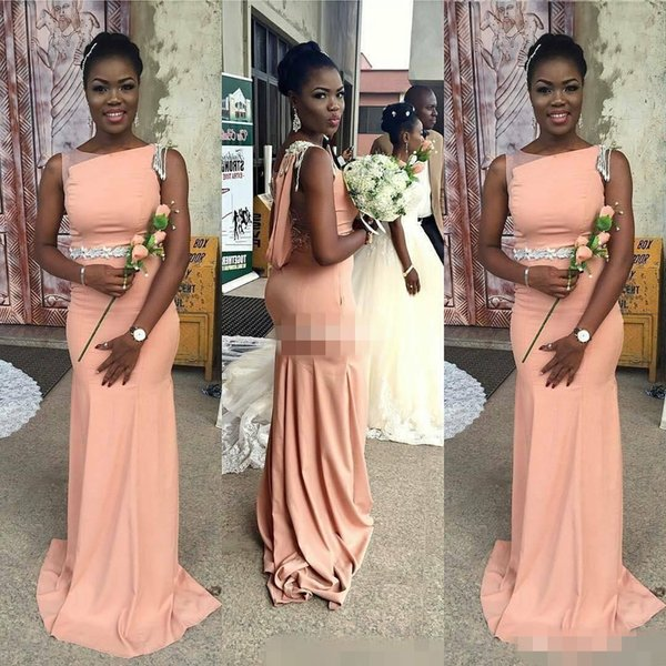 African 2019 Peach Satin Mermaid Bridesmaid Dresses Long Modest Bateau Black Sash Maid Of H Maid Of Honor Evening Party Gowns Cheap Hot Sale
