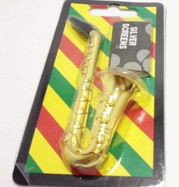 Altavoz pipa para fumar Mini saxofón Trompeta Forma Metal aluminio Tabaco Tubos de mano Molinillo Humo Herramientas Accesorios Con Pantallas de malla venta
