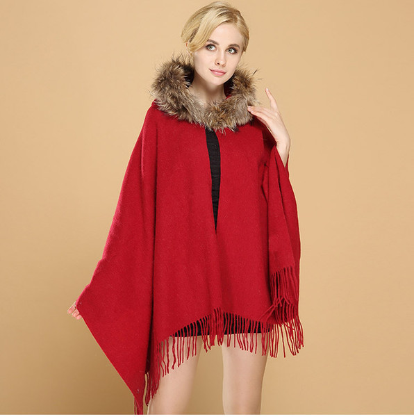 6 Colors ,2018 New Red Riding Cap Cloak Fall Winter Wool Shawl Cashmere Scarf Wedding Chandelier Bridal Wraps Jacket