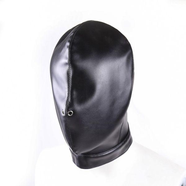 Funny Black Leather Bondage Hood Mask Fetish Bondage Restraint Blind Mask SM Sex Toys For Couple/Women/Men/Gay Headgear BDSM Toys