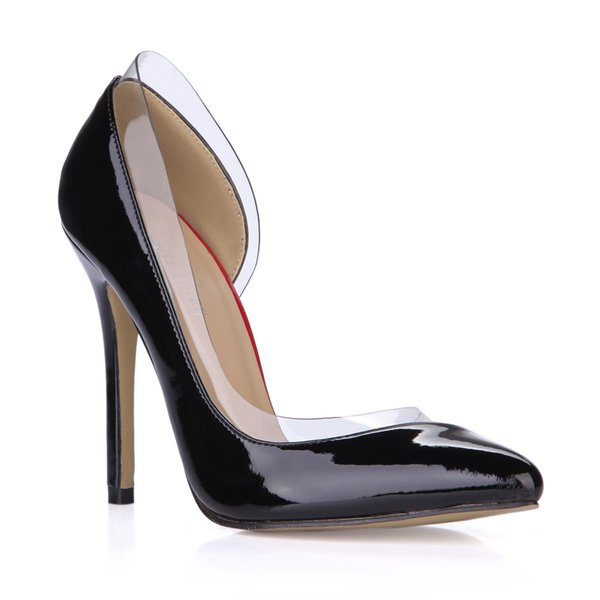 2017 Black Women Pumps Shoes Patent Leather High Heels Slip On Party Shoes Pointed Toe Ladies Dress Shoes Plus Size Real Image