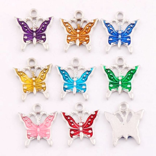 best selling 180pcs lot 17x15.2mm 9Colors Antique Silver Enamel Butterfly Spacer Charm Beads Pendants Alloy Handmade Jewelry DIY L1561