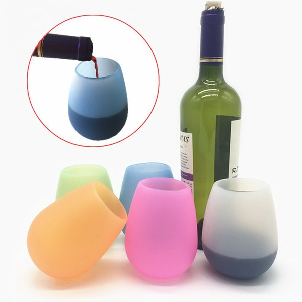 Silicone Wine Glass Collapsible Unbreakable Stemless Wine Glasses Rubber Beer Whiskey Drinkware Outdoor Portable Foldable Drinking Cup Mug