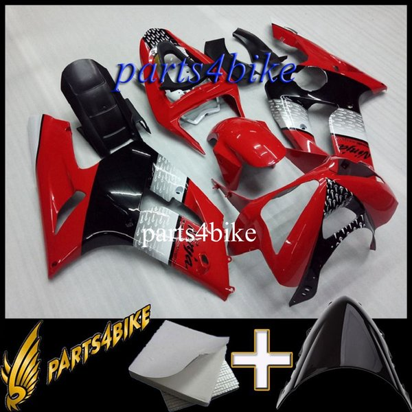 ABS Fairing for Kawasaki ZX6R 03 04 ZX-6R 2003 2004 03 04 red black white Motorcycle Aftermarket Plastic Kit