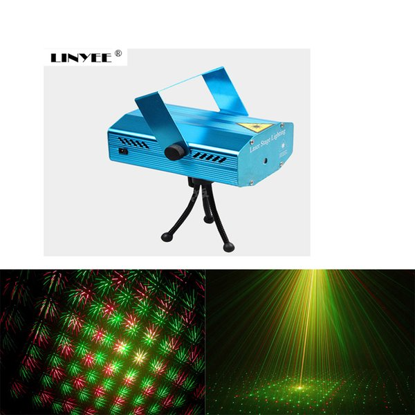 Portable led Laser Stage Lights Red + Green Color Multi All Sky Star Lighting Mini DJ Laser For Christmas Party Home Wedding Club Projector