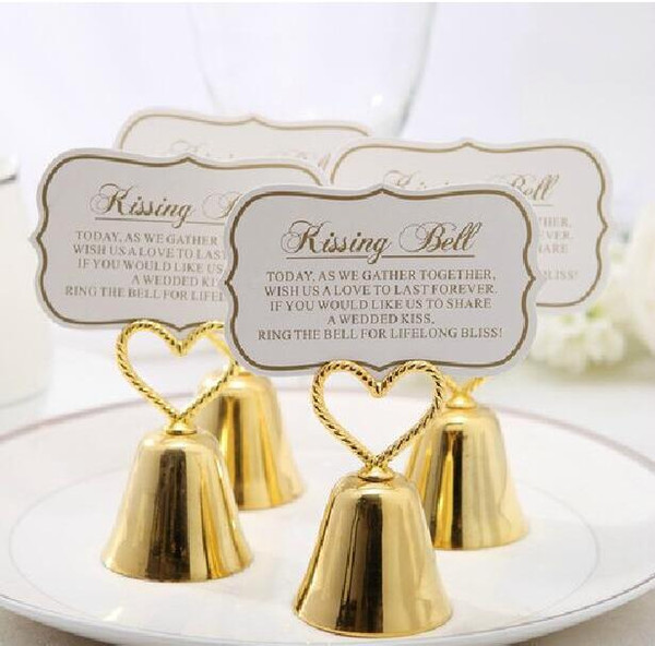 "best selling Beautiful Gold Silver ""Kissing Bell"" Bell Place Card Holder Photo Holder Wedding Table Decoration Party Favors"
