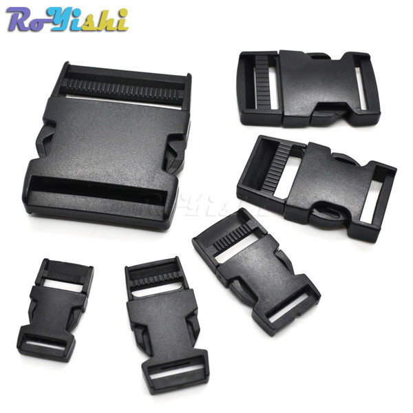 100pcs/lot Plastic Straight Side Release Strong Buckle For Backpack Straps Webbing Black