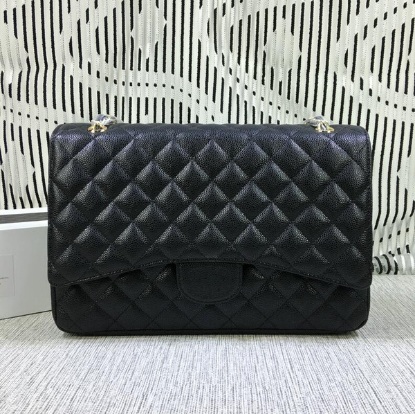 2019 Top Quality Xxl Classial 33cm Maxi Quilted Chain Bag Black Genuine Caviar Leather Single Flaps Fashion Shoulder Bag Gold / Silver Hw