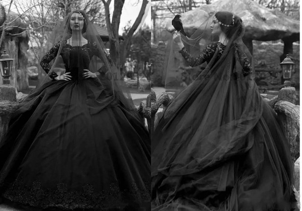 New Long Sleeve Ball Gown Black Gothic Wedding Dress With Free Veil Arabic Victorian Lace Applique Bridal Gown Custom Made Vestido De noiva