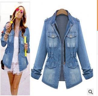 yabsera / Atacado- novas mulheres jaqueta jeans casaco jaqueta feminina mulheres bolsos com zíper fino jaquetas básicas outerwear jeans casaco grande tamanho